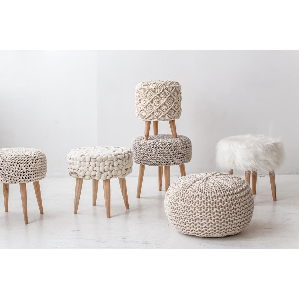 Remarkable Bohemian Vintage Macrame Stool With Natural Wooden Legs Casaza Ibusinesslaw Wood Chair Design Ideas Ibusinesslaworg