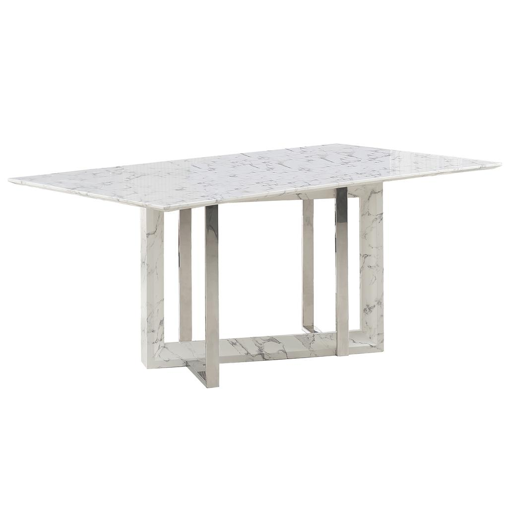 Faux Marble Coffee Table Canada: Lloyd Faux Marble Dining Table With Geometric Base White