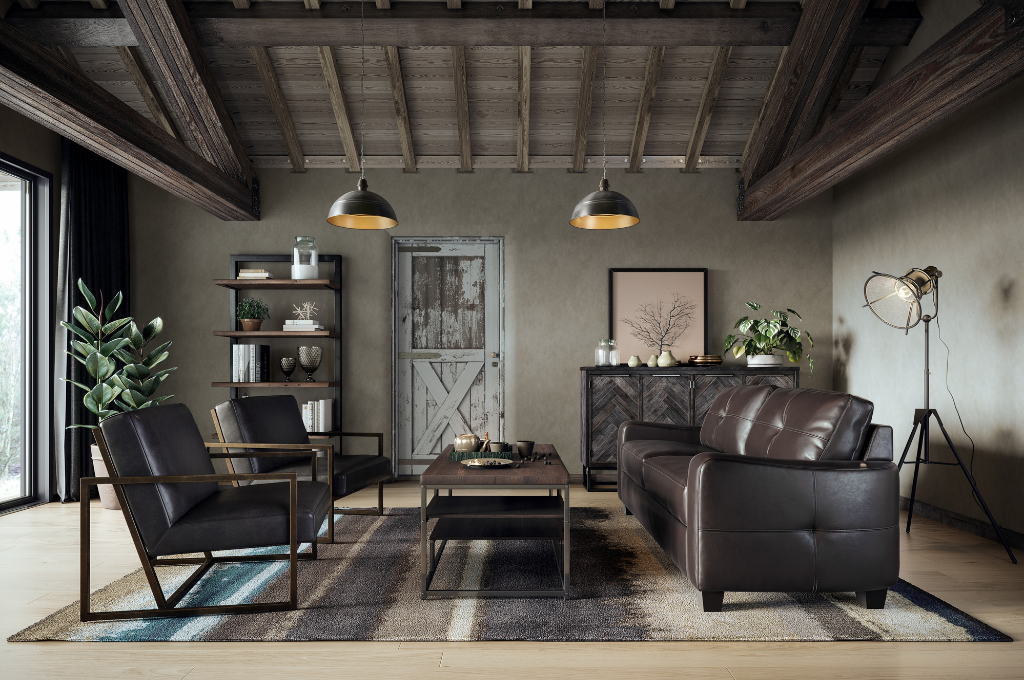 Drew Scott curates Elevated Industrial Living Room