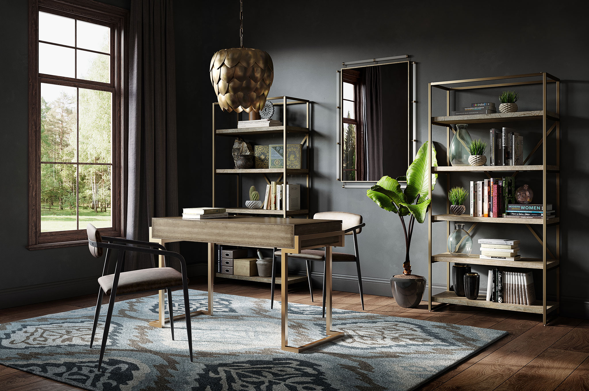 Drew Scott curated a sophisticated glam home office