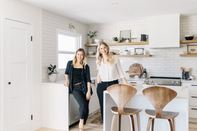 Kristina Lynne and Diana Tidswell of Kresswell Interiors in a kitchen