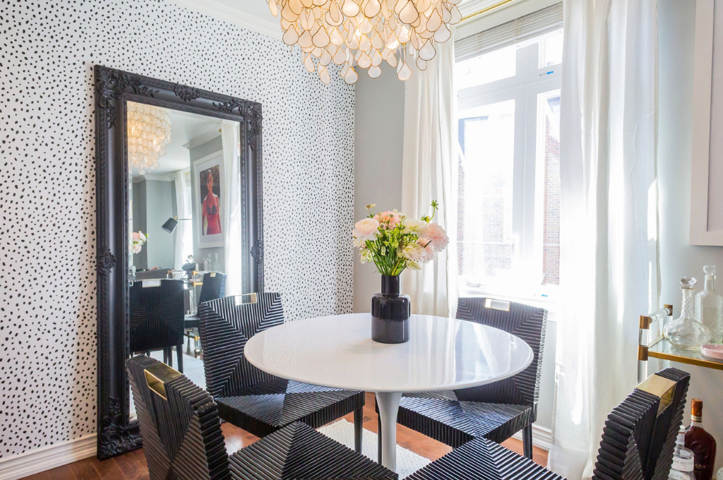 Rental space with peelable wallpaper designed by Jaclyn Genovese of Spaces by Jacflash